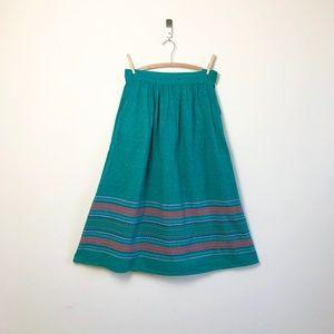 vtg teal linen cotton skirt southwestern longline
